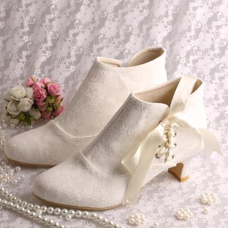 Krajkové svatební kotníčkové boty, 5,5cm, 34-42, 38
