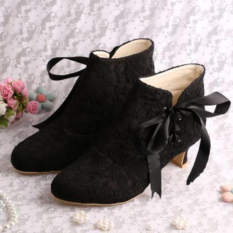 Krajkové svatební kotníčkové boty, 5,5cm, 34-42, 42