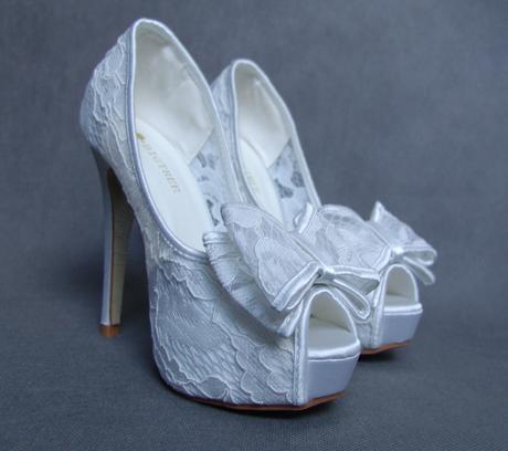 Krajkové svatební lodičky, vysoký podpatek, 35-39, 38