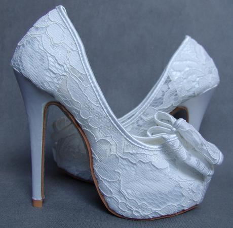 Krajkové svatební lodičky, vysoký podpatek, 35-39, 35
