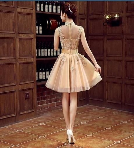 Krátké champagne společenské šaty, popůlnočky, 36