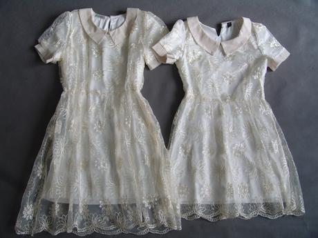 Krémové, ivory šaty pro družičky, 11-15 let, 164