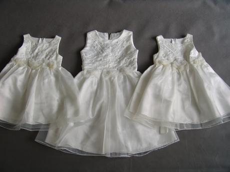 Krémové, ivory šaty pro družičky 3-6 let, 104