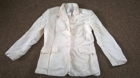 Krémový kalhotový kostýmek, uk 8 (36-38), 36
