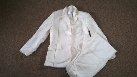 Krémový kalhotový kostýmek, uk 8 (36-38), 38