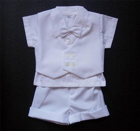 Letní bílý oblek pro miminko, 6-12 měsíců půjčovné, 80