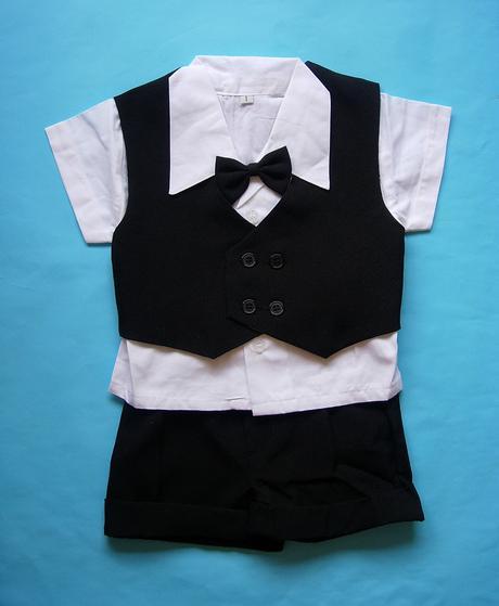 Letní černý oblek pro miminko, 6 měsíců až 3 roky , 92