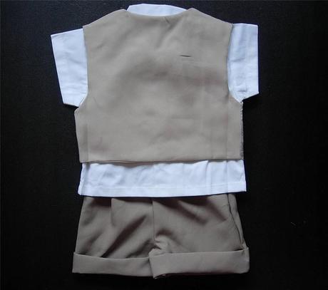 Letní hnědý oblek, 6m-3 roky - půjčovné, 80