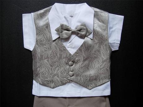 Letní hnědý oblek, 6m-3 roky - půjčovné, 86
