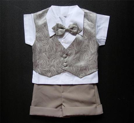 Letní hnědý oblek, 6m-3 roky - půjčovné, 98