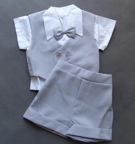 Letní oblek 0-1 rok, šedý, půjčovné, 74