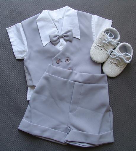 Letní oblek 0-1 rok, šedý, půjčovné, 80