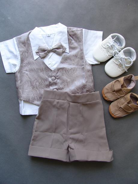 Letní oblek 1-2 roky, šedý, půjčovné, 80