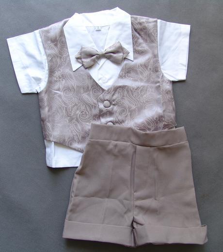 Letní oblek 1-2 roky, šedý, půjčovné, 86