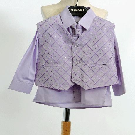 Lilla, světle fialový společenský oblek, k zapůjče, 98