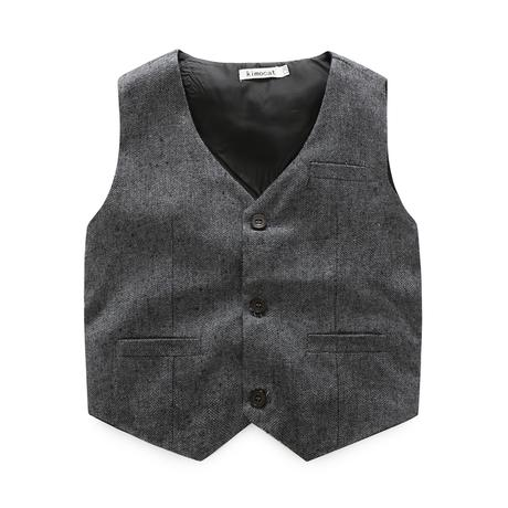 Lososový, šedý -  společenský oblek k zapůjčení, 128