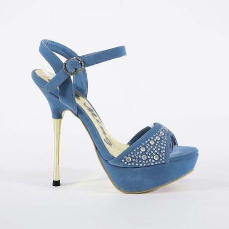 Modré extravagantní sandálky, 14cm podpatek, 36-41, 40