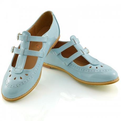 Modré pastelové retro lodičky, 36-41, 41