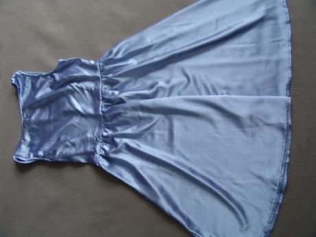 Modré saténové šaty, různé velikosti, M