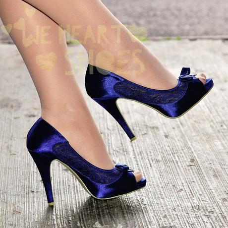 Modré saténové svatební lodičky, vysoký podpatek, 36