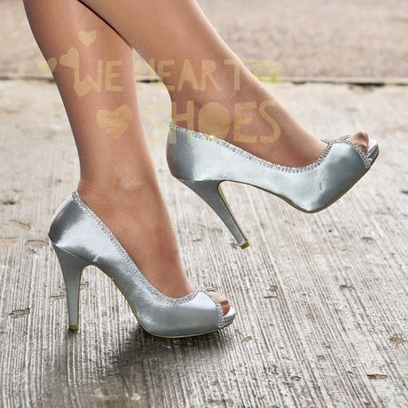 Modré saténové svatební lodičky, vysoký podpatek, 38