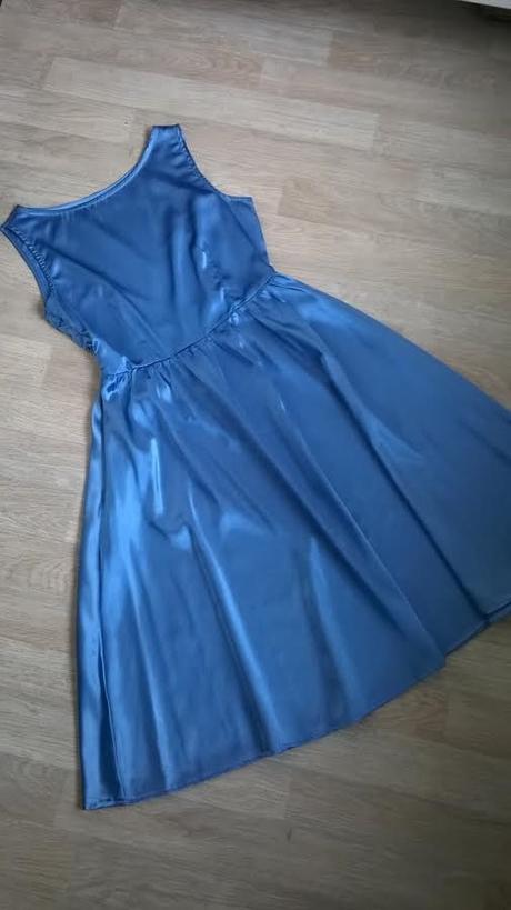 Modré šaty na převlečení, společenské, styl 50 let, 38