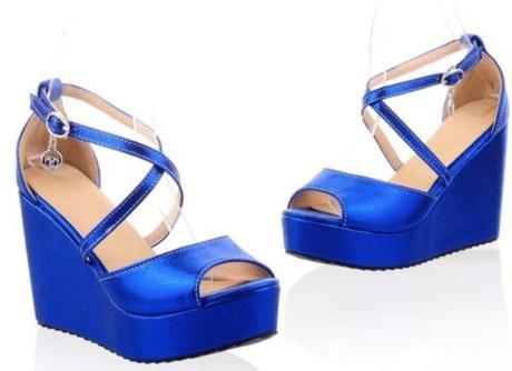 Modré společenské boty, klínek, 35-42, 40