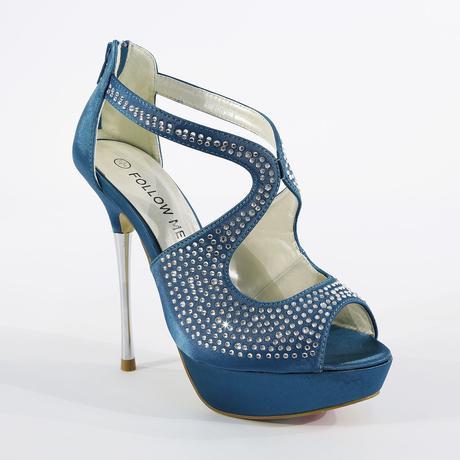 Modré společenské sandálky, 36-41, 40