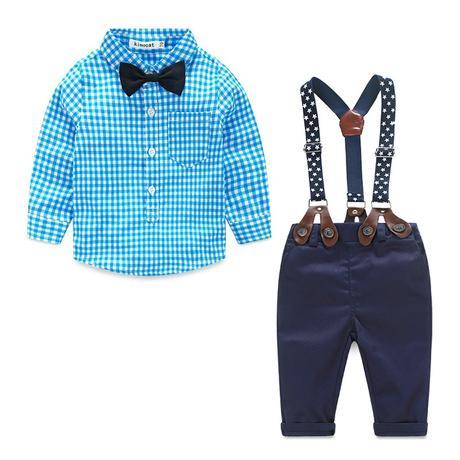 Modrý oblek se kšandy, svatební, společenský k zap, 74