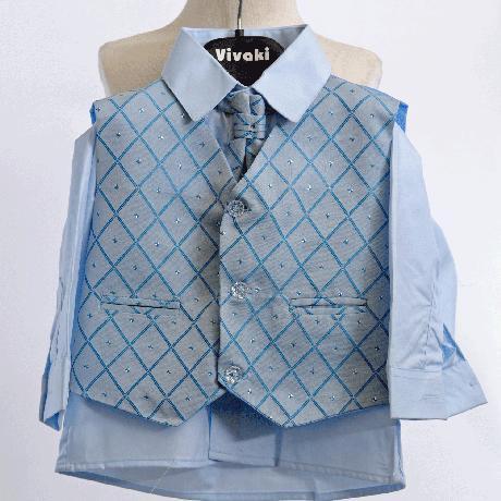 Modrý oblek, svatební, křtiny, půjčovné, 0-8 let, 68