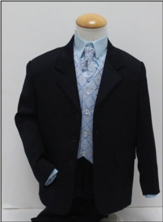 Modrý oblek, svatební, křtiny, půjčovné, 0-8 let, 86