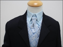 Modrý oblek, svatební, křtiny, půjčovné, 0-8 let, 134