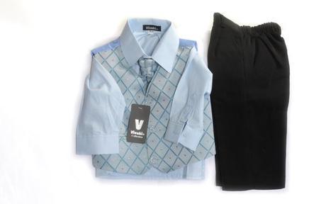 Modrý oblek, svatební, křtiny, půjčovné, 0-8 let, 122