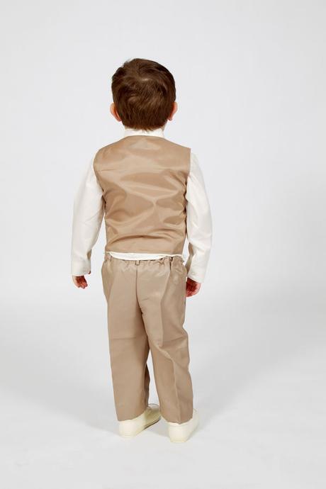 NOVINKA - béžový oblek, půjčovné, 3m-9 let, 128