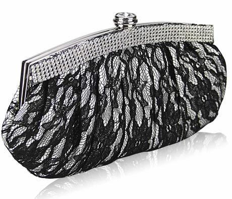 NOVINKA - bílo-černá krajková kabelka,