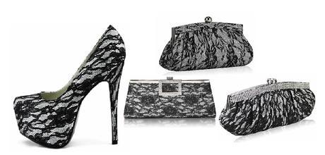 NOVINKA - bílo-černé krajkové lodičky, kabelka, 40