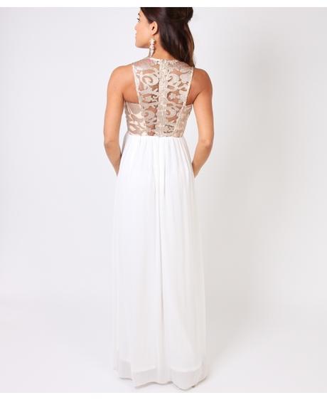 NOVINKA - bílo-zlaté společenské šaty, S,M,L, 40