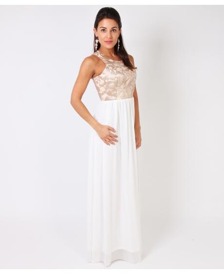 NOVINKA - bílo-zlaté společenské šaty, S,M,L, 41