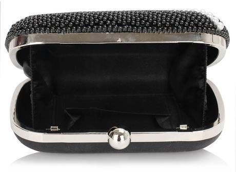 NOVINKA - černá perličková kabelka,