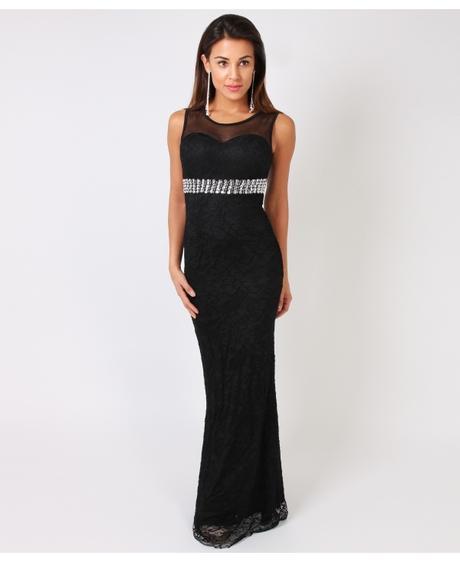 NOVINKA - černé krajkové společenské šaty, L