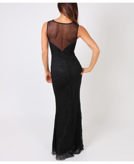 NOVINKA - černé krajkové společenské šaty, S