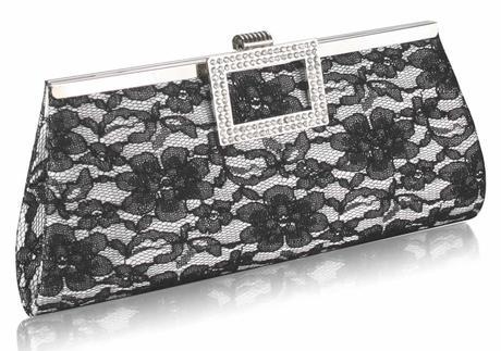 NOVINKA - černo-bílá krajková kabelka,