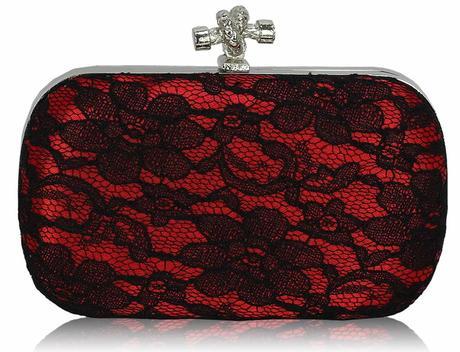 NOVINKA - červená krajková kabelka,