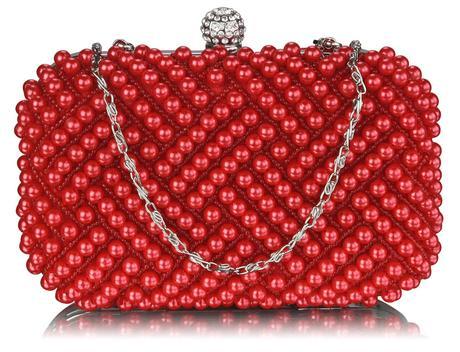 NOVINKA - červená perličková kabelka,