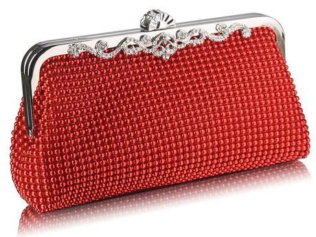 NOVINKA - červená společenská kabelka,