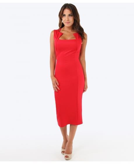 NOVINKA - červené společenské šaty, 48