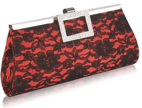 NOVINKA - červeno-černé krajkové lodičky, kabelka, 36