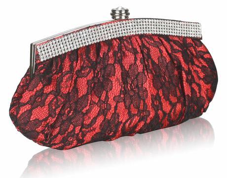 NOVINKA - červeno-černé krajkové lodičky, kabelka, 38