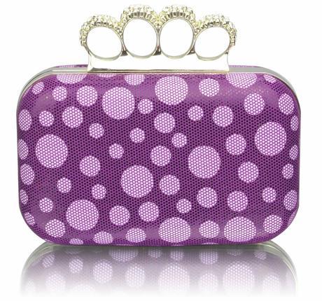 NOVINKA - fialová puntíkatá kabelka,