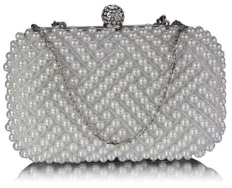 NOVINKA - ivory perličková kabelka,